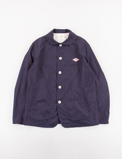 Navy Downproof Round Collar Jacket