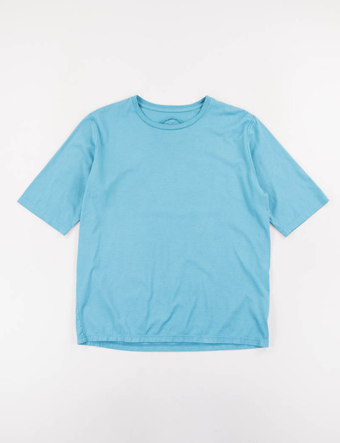 Turquoise Knitted Cotton Half Sleeve Tee