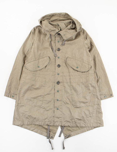 Olive Coated Linen Highland Parka
