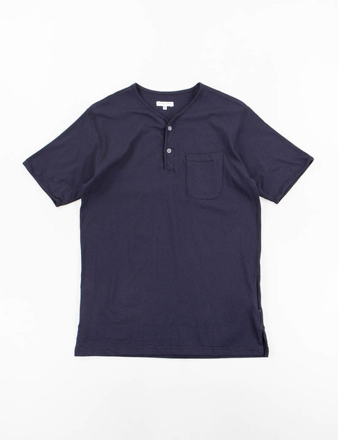 Dark Navy Solid Jersey Henley Shirt