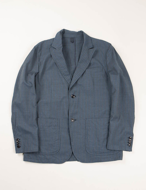 Blue Blurred Stripe 2 Button Peaked Lapel Jacket
