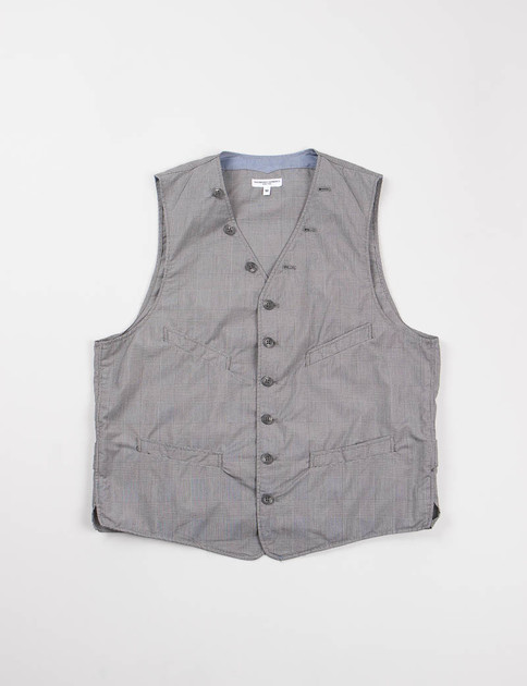 Grey PC Glen Plaid Cinch Vest