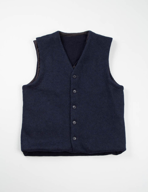 Navy Sweater Knit Combi Vest