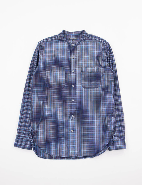 Navy/Light Blue Small Check Banded Collar Shirt