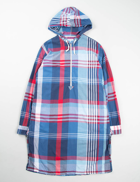 Blue/Red/White Big Plaid Long Bush Shirt