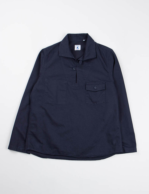 Navy Cotton Herringbone Roscoff Shirt