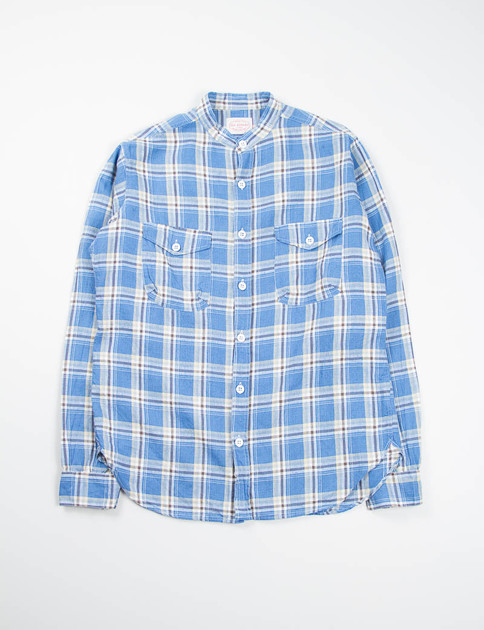Blue Plaid Banded Collar Mill Shirt