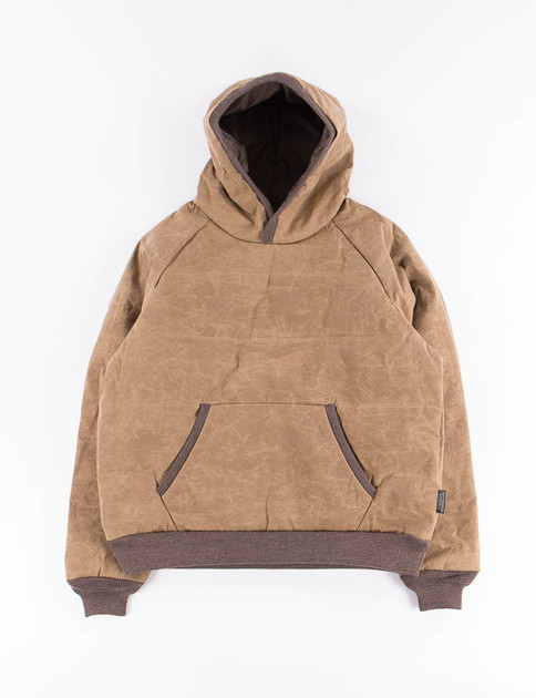 Brown Paraffin Down Pullover Hoody