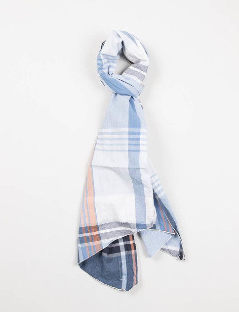 Navy/Orange Big Plaid Long Scarf