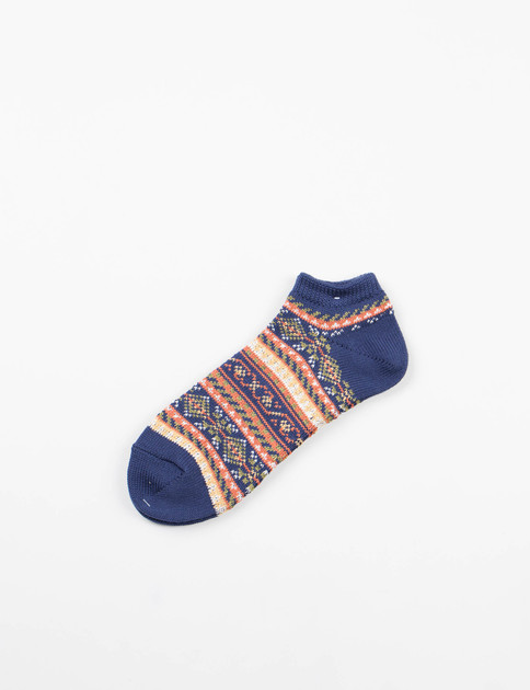 Navy Pattern Ankle Socks