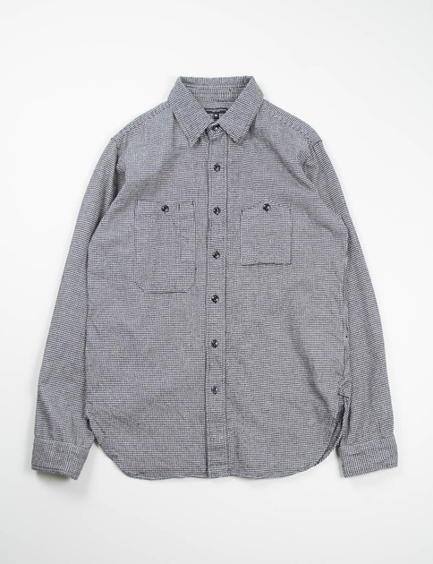 Grey Houndstooth Flannel Work Shirt