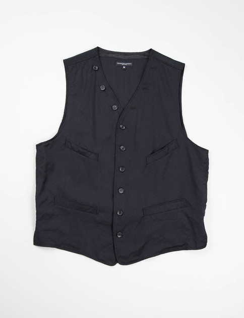 Black Worsted Wool Flannel Cinch Vest