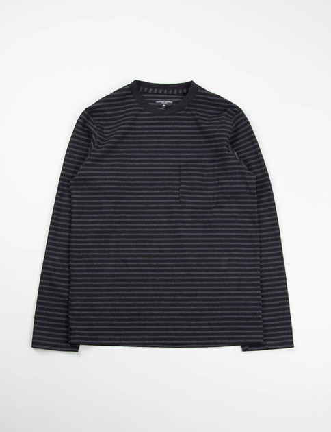 Black/Grey Stripe Jersey Long Sleeve Crew