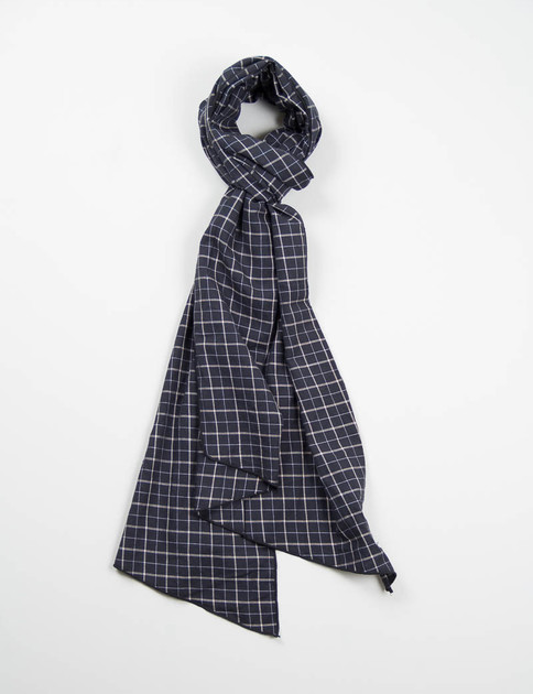 Black/Gold Windowpane Check Long Scarf