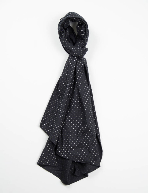 Black Brushed Polka Dot Twill Long Scarf