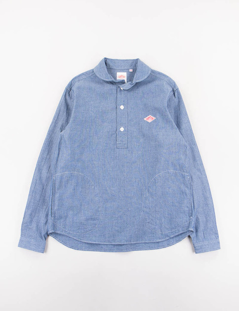 Indigo Chambray Shawl Collar Pullover Shirt