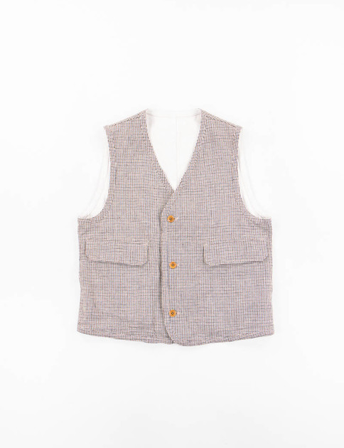 Beige Linen Bonded Double Face Cloth Reversible Easy Vest