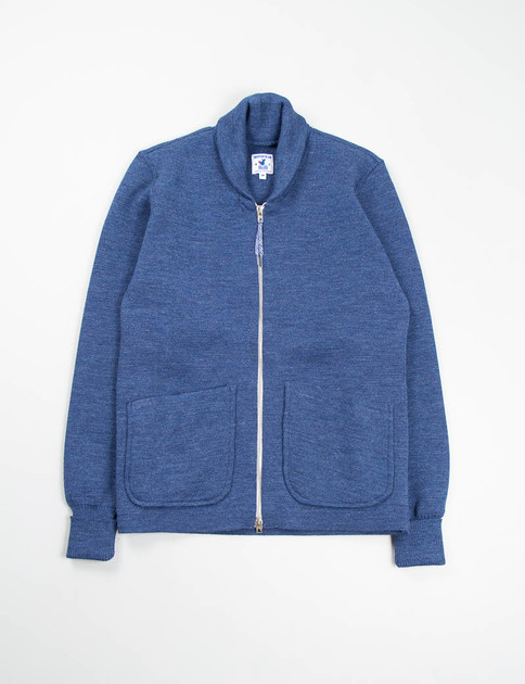 Azur Blue Wool Heavy Knit Roscoff Jacket