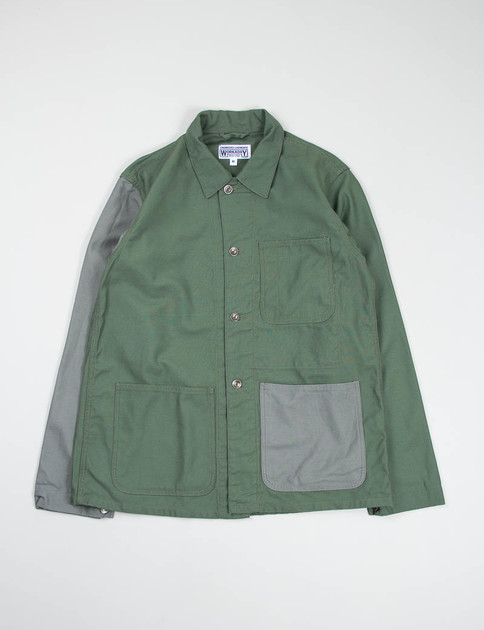 Olive/Grey Combo Reversed Sateen Utility Jacket