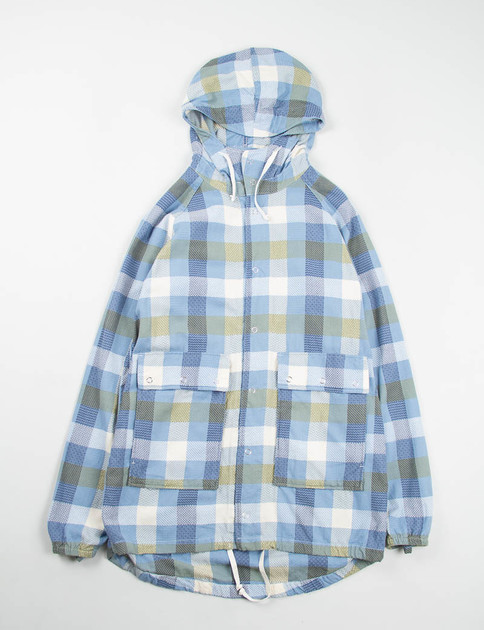 Light Blue Jacquard Pattern Block Light Parka