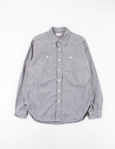 Grey Cotton Chambray Work Shirt