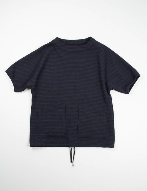 Black/Navy Horizontal Stripe S/S Smock