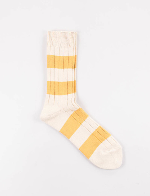 Beige/Yellow Wide Border Rib Socks
