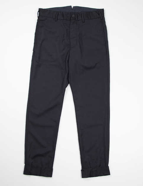 Black Worsted Wool Flannel Cinch Pant