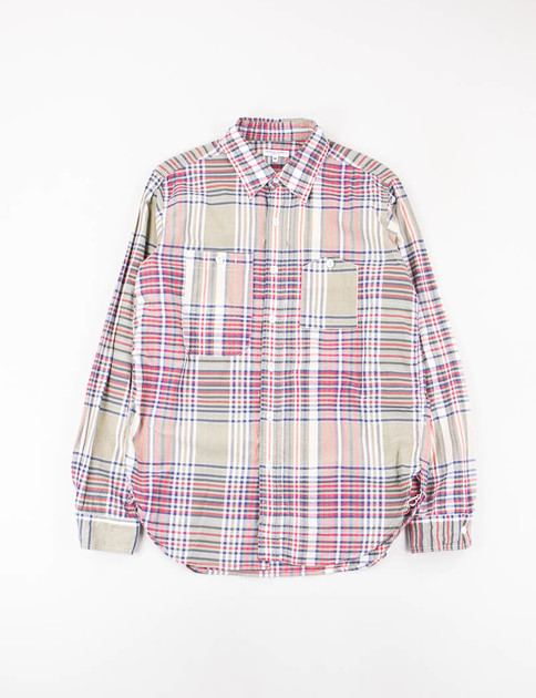 Olive/Red/Navy Big Plaid Work Shirt