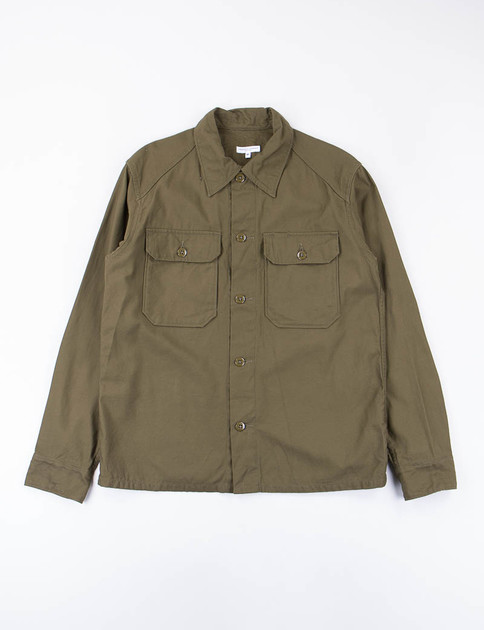 Olive Reversed Sateen Field Shirt