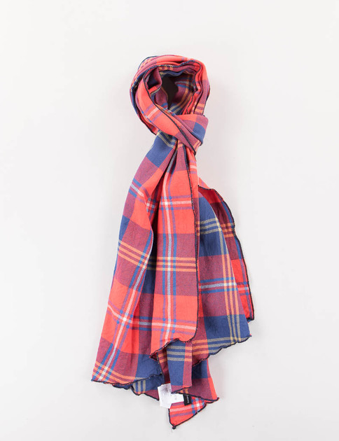 Red/Navy Heavy Twill Plaid Long Scarf