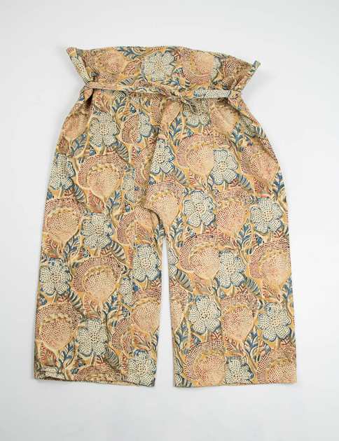 Brown Floral Print Canvas Fisherman Pant
