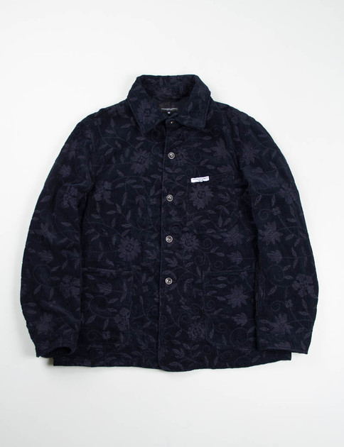 Dark Navy Floral Embroidered Corduroy Portview Jacket