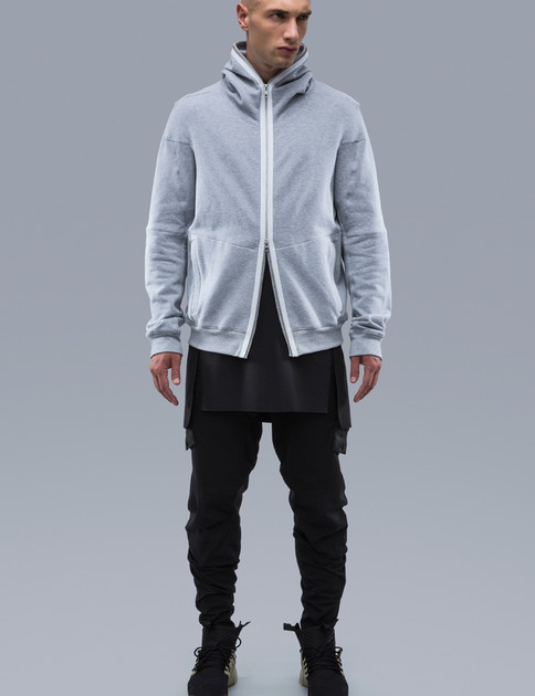 J48–BR Grey Cotton Melange Hooded Jacket