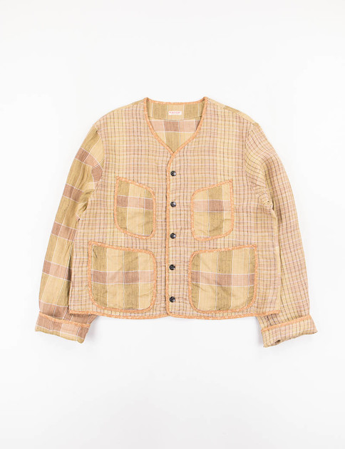 Gold Linen Basho Check Beach Bolero Jacket