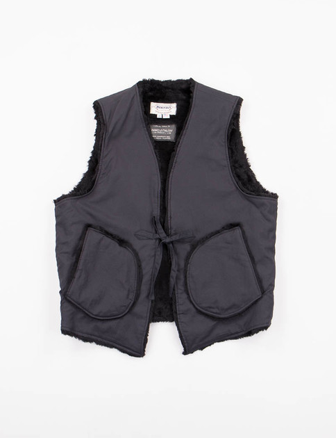 Black Vancloth Fur Lined String Vest