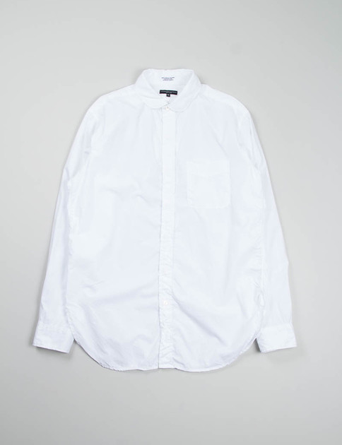 White 100's 2ply Broadcloth Rounded Collar Shirt