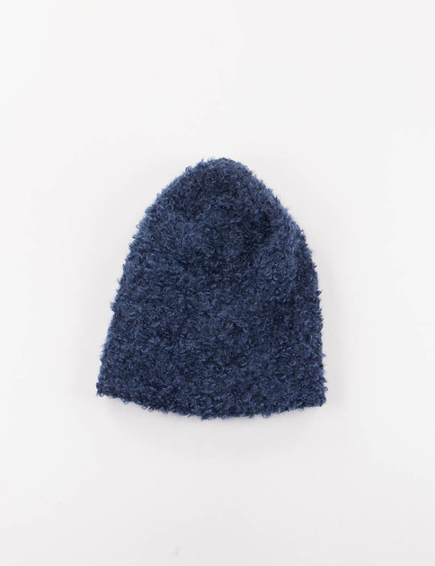 Navy Boucle Long Beanie
