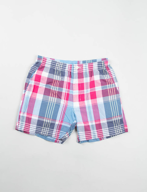 Red/Light Blue Big Plaid Long Beach Short