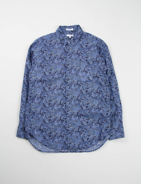 Navy Floral Lawn Short Collar Shirt