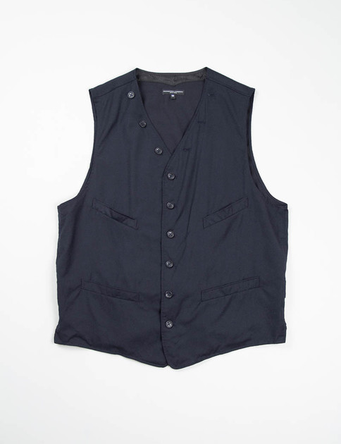 Dark Navy Worsted Wool Flannel Cinch Vest