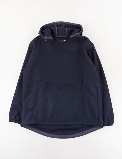 Navy Wool Flannel Hooded Pullover