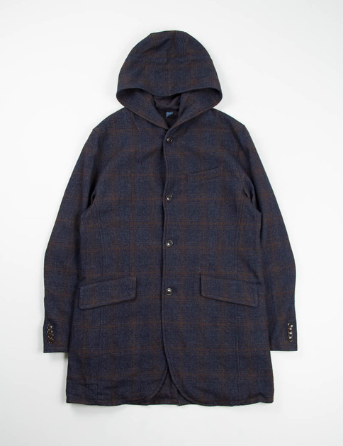 Navy Hooded Long Jacket