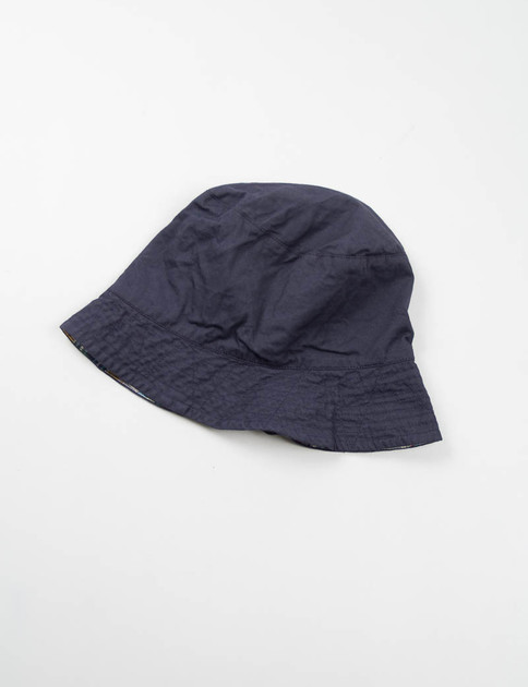 Navy Madras Plaid Reversible Bucket Hat