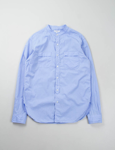 Light Blue End On End Banded Collar Shirt