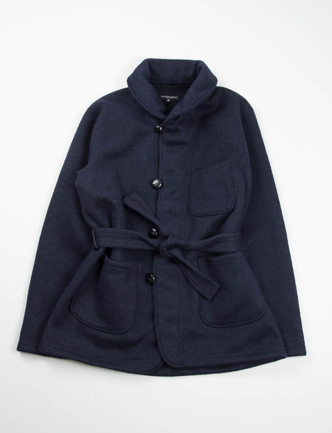 Navy Sweater Knit Shawl Collar Knit Jacket