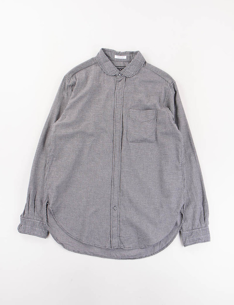 Dark Grey Brushed Houndstooth Rounded Collar Shirt