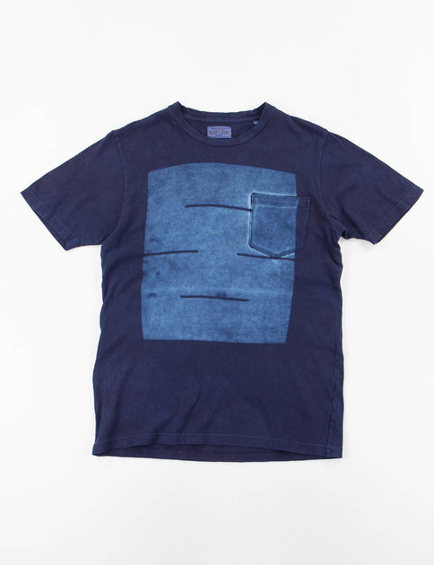 Indigo Hand Dyed Chained Boxes Print Crew Neck Tee