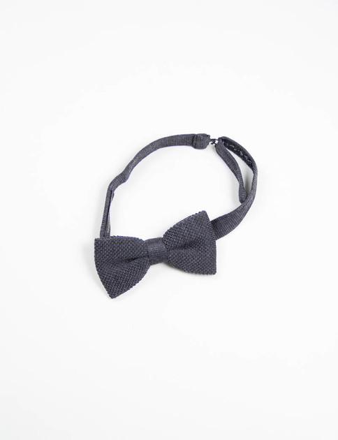 Charcoal Wool Knit Bow Tie