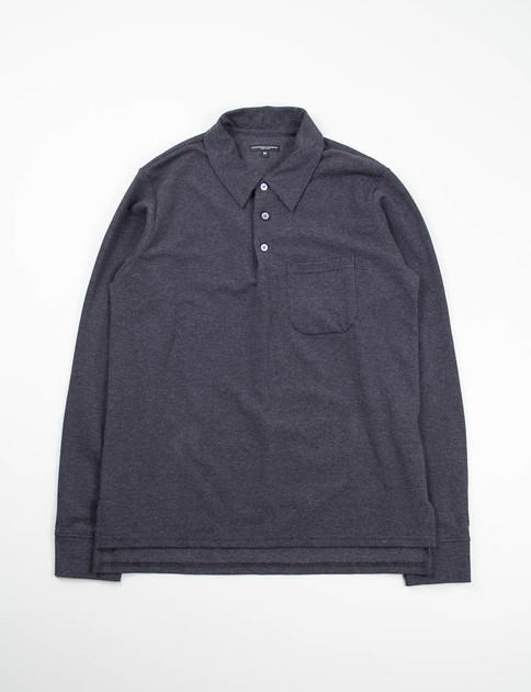 Black Heather Pique Knit Long Sleeve Polo